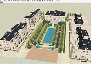 法式会所 联排别墅建筑方案SU(草图大师)模型