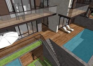 新亚洲风格山地联排别墅SU(草图大师)模型
