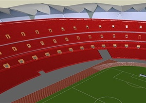 现代风格足球体育馆SU(草图大师)模型
