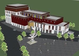 西藏文化馆建筑方案SU(草图大师)模型