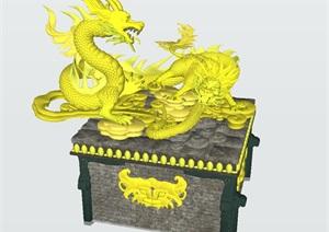 一组中国龙 麒麟雕塑小品SU(草图大师)模型