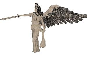 一组欧式女神雕塑SU(草图大师)模型