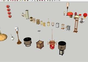 一組新中式燈具與吊燈SU(草圖大師)模型