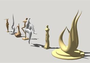 7個抽象銅人雕塑景觀小品SU(草圖大師)模型