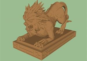 一组狮子雕像小品SU(草图大师)模型