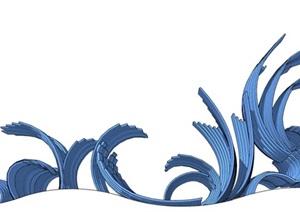 一组海浪雕塑景观小品SU(草图大师)模型