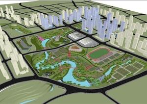 现代大型山地体育公园景观方案SU(草图大师)模型