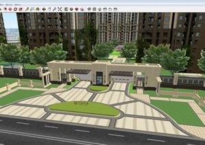 萬達華府小區景觀設計方案SU(草圖大師)模型