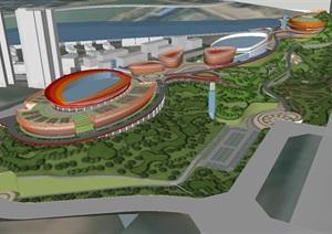 山体体育公园景观设计方案SU(草图大师)模型