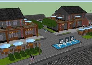 新农村商业街景观改造方案SU(草图大师)模型