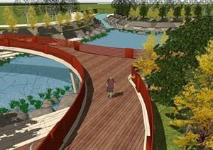 现代风格滨水公园景观规划设计方案SU(草图大师)模型
