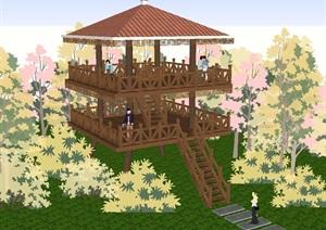 7個景觀瞭望塔設計方案SU(草圖大師)模型1