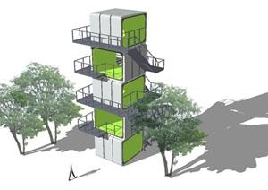 7個景觀瞭望塔設計方案SU(草圖大師)模型3