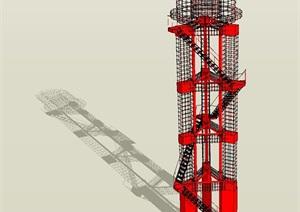 7個景觀瞭望塔設計方案SU(草圖大師)模型4