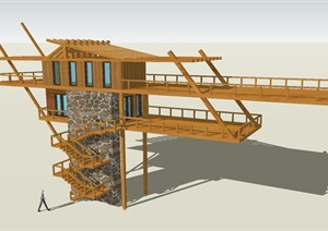 7個景觀瞭望塔設計方案SU(草圖大師)模型2