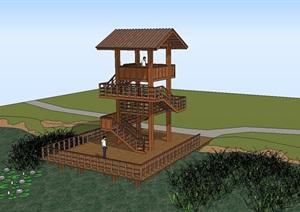 7個景觀瞭望塔設計方案SU(草圖大師)模型6