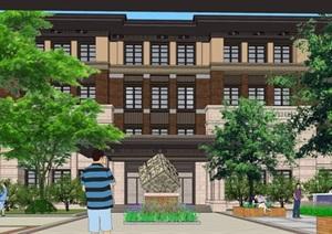 石家庄初中学校建筑与景观方案SU(草图大师)模型