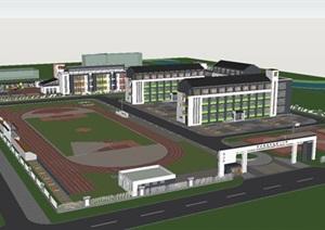 泗水县金莊镇新中式第一中学 幼儿园建筑方案SU(草图大师)模型