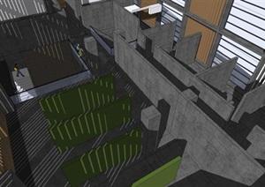 武漢理工廈門學院建筑設計方案SU(草圖大師)模型(附CAD平立面)
