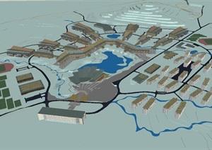 红河技师学院建筑规划设计方案SU(草图大师)模型