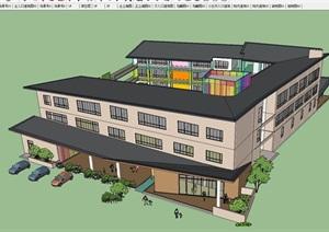 現代風格15班幼兒園建筑設計方案SU(草圖大師)模型
