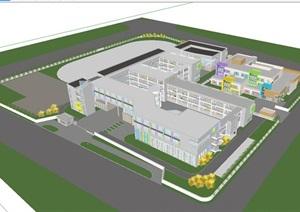 现代风格小学+幼儿园整体规划设计方案SU(草图大师)模型
