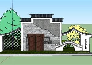 中式入口造型景墙节点详图