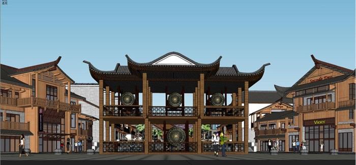 土家族民俗文化风情商业街SU模型(11)