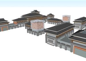 汉唐风古典中式商业街SU(草图大师)模型