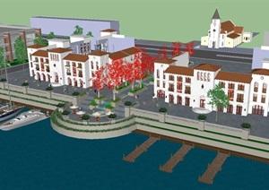 西班牙风格滨湖商业街SU(草图大师)模型