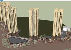 金地现代风格高层 商业街区SU(草图大师)模型