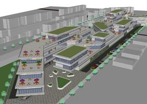 现代风格商业街项目SU(草图大师)模型