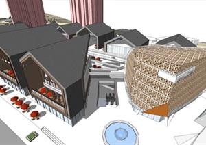 远洋地产现代风格山地商业街项目SU(草图大师)模型