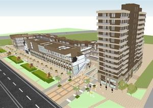 富力十号现代风格高层住宅+商业街项目SU(草图大师)模型