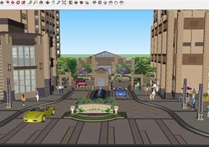 公园壹号Artdeco风格小区主入口+沿街商业+会所SU(草图大师)模型