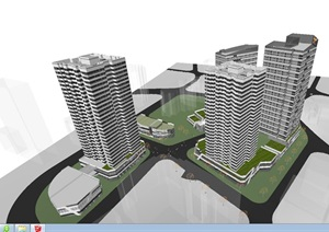 龙湖现代风格商业+办公+住宅项目SU(草图大师)模型