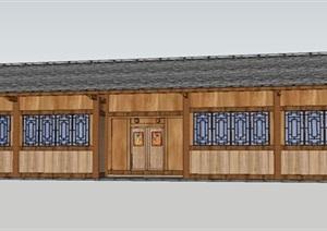 農耕文化木結構展廳SU(草圖大師)模型