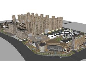 新古典风格创德商业中心+高层与别墅住宅SU(草图大师)模型