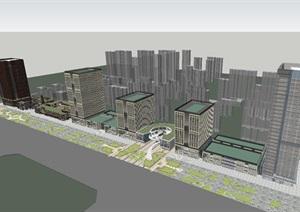 中海褐石风格商业中心+现代办公楼SU(草图大师)模型