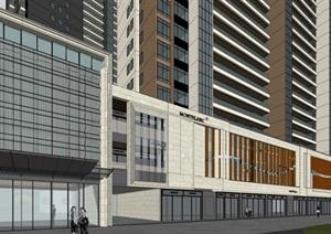 深圳现代风格高层住宅+沿街商业项目SU(草图大师)模型