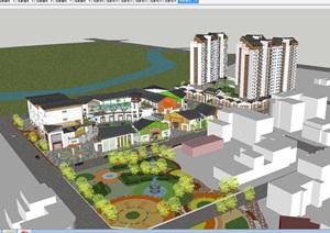 新中式商业广场+高层住宅小区SU(草图大师)模型