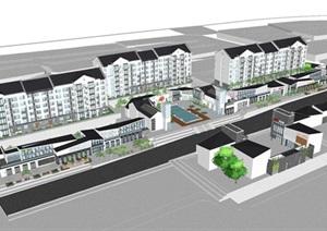 新中式住宅小区+沿街商业SU(草图大师)模型