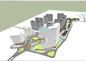 现代风格居住区+商业项目SU(草图大师)模型