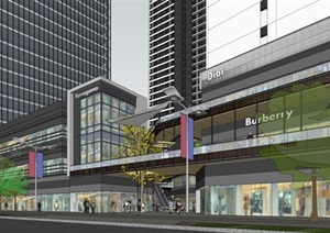 现代风格公寓+商业+写字楼项目SU(草图大师)模型
