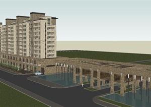 新古典小高层沿街商业+小区入口方案SU(草图大师)模型