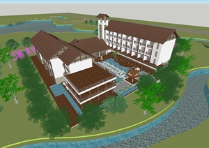 东南亚风格度假酒店方案SU(草图大师)模型