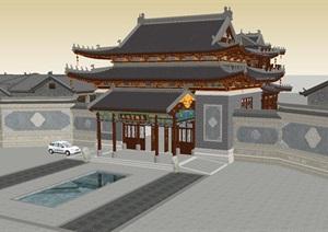 仿古中式酒店大堂建筑方案SU(草图大师)模型