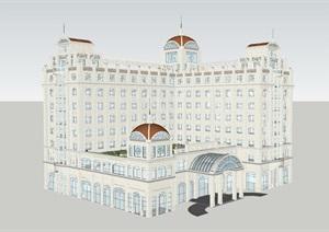 Art-deco风格度假酒店SU(草图大师)模型
