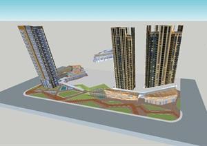 常州平港星苑现代塔式高层酒店+沿街商业综合体SU(草图大师)模型(附CAD平面图)