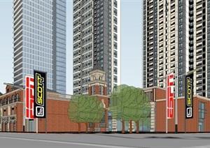 武漢超高層住宅+酒店+辦公綜合項目SU(草圖大師)模型